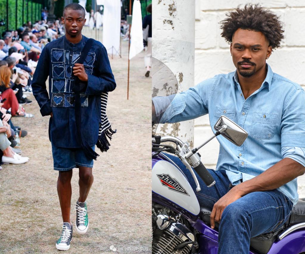 """Look all jeans: Na passarela da Pitti Uomo, a JW Anderson desfilou uma produção inteira jeans. A adaptação para a """"realidade"""" traz a camisa e a calça em tons contrastantes, porém mais simples, sem as aplicações presentes no modelo anterior e com uma modelagem menos ampla."""